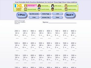 Vertical 3 digit addition Worksheet