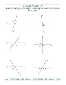 Vertical Angles 2 Worksheet