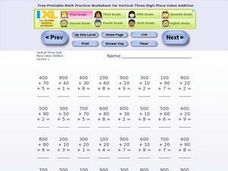Vertical Three Digit Place Value Addition 1 Worksheet