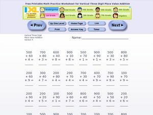 Vertical Three-Digit Place Value Addition #3 Worksheet