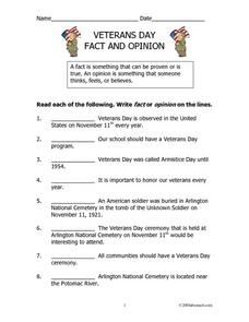 Veterans Day Fact And Opinion Lesson Plan
