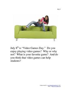 Video Games Day- July 8th Worksheet