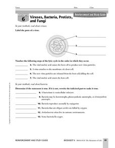Printables Virus And Bacteria Worksheet viruses bacteria protists and fungi 9th higher ed worksheet worksheet