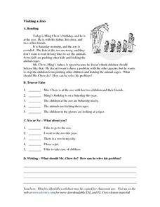 Visiting a Zoo Worksheet
