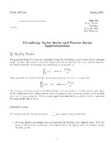 Visualizing Taylor Series and Fourier Series Approximations Worksheet