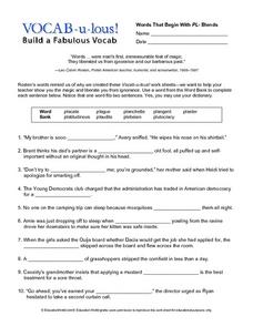 Vocab-u-lous! Build a Fabulous Vocab: Words beginning with Pl Worksheet