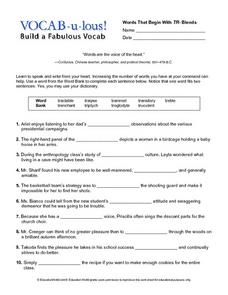 Vocab-u-lous! Build a Fabulous Vocab: Words Beginning with TR Worksheet