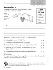 Vocabulary: Allie's Basketball Dream Worksheet