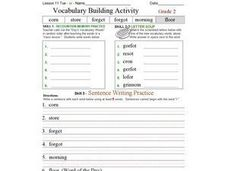 "Vocabulary Building Activities- ""or"" Words Worksheet"