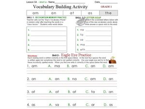 Vocabulary Building Activity (Short A Words) Worksheet