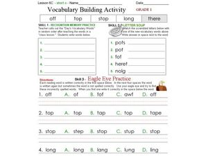 Vocabulary Building Activity - Short o Words Worksheet