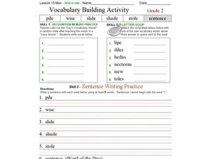 Vocabulary Building: Final e Rule Worksheet