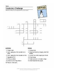 Vocabulary Challenge-- Winter Crossword Worksheet