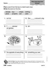 Vocabulary: Early Literacy 2 Worksheet