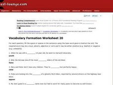 Vocabulary Formation Worksheet 20 Worksheet
