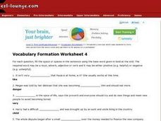 Vocabulary Formation Worksheet 4 Worksheet