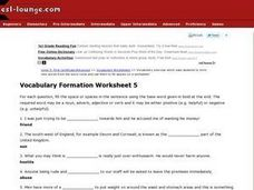 Vocabulary Formation Worksheet 5 Worksheet