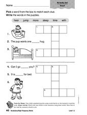 Vocabulary: High Frequency Words: hear, jump, more, sleep, time, with Worksheet
