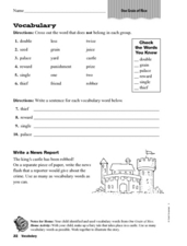 Vocabulary: One Grain of Rice Worksheet