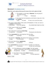Vocabulary Review: Making Comparisons Worksheet