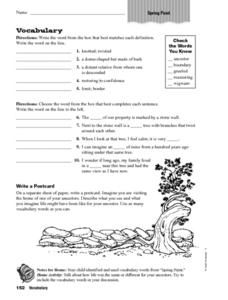 Vocabulary - Scott Forsman - Spring Paint Worksheet