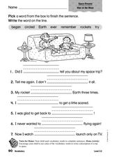 Vocabulary: Space Dreams Worksheet