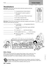 Vocabulary: The Baker's Neighbor Worksheet