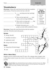 Vocabulary: Tornado Alert Worksheet