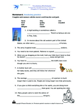 Vocabulary Worksheets : Connecting Ideas Worksheet
