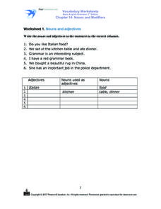Vocabulary Worksheets: Nouns and Modifiers Worksheet