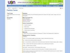 Vocational: Fashion terms Lesson Plan
