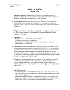 Voice In Writing Lesson Plan