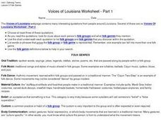 Voices of Louisiana Worksheet Worksheet