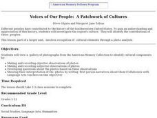 Voices of Our People:  A Patchwork of Cultures Lesson Plan