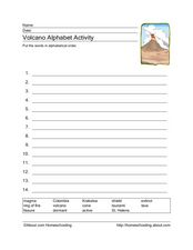 Volcano Words Alphabetical Order Worksheet