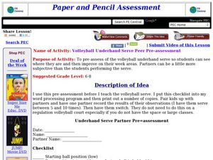 Volleyball Underhand Serve Peer Pre-assessment Lesson Plan