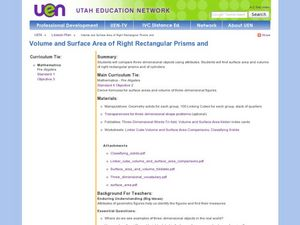 Volume and Surface Area of Right Rectangular Prisms Lesson Plan
