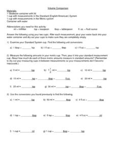 Volume Comparison Worksheet