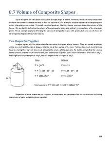 volume of composite shapes 8th 10th grade worksheet lesson planet. Black Bedroom Furniture Sets. Home Design Ideas