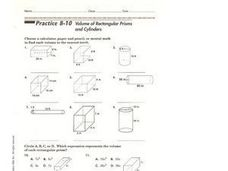 Volume of Rectangular Prisms and Cylinders Worksheet