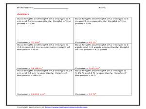 worksheets volume of a triangular prism worksheet opossumsoft worksheets and printables. Black Bedroom Furniture Sets. Home Design Ideas