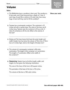 Volume - Problem Solving 18.6 Worksheet