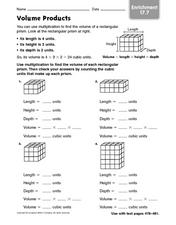 Volume Products - Enrichment 17.7 Worksheet