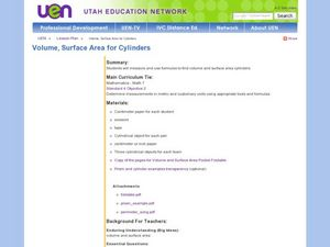 Volume, Surface Area for Cylinders Lesson Plan