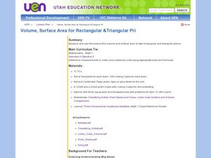 Volume, Surface Area for Rectangular & Triangular Prisms Lesson Plan