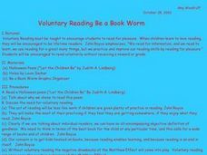Voluntary Reading - Be a Book Worm Lesson Plan