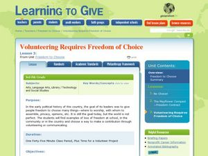 Volunteering Requires Freedom of Choice Lesson Plan