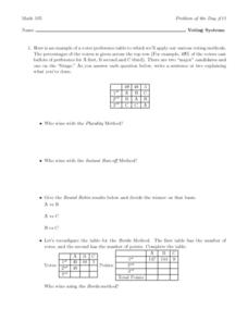 Voting Systems Worksheet