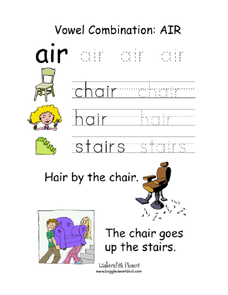 Vowel Combination: air Worksheet