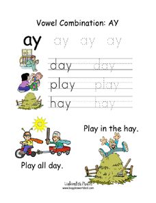 Vowel Combination: Ay Worksheet